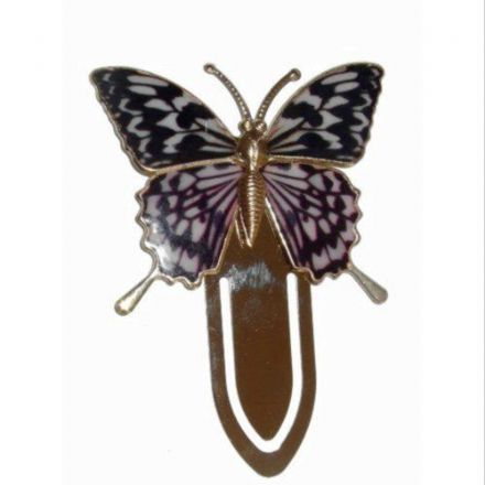 Gold Plated Mottled Pink Colourful Butterfly Bookmark